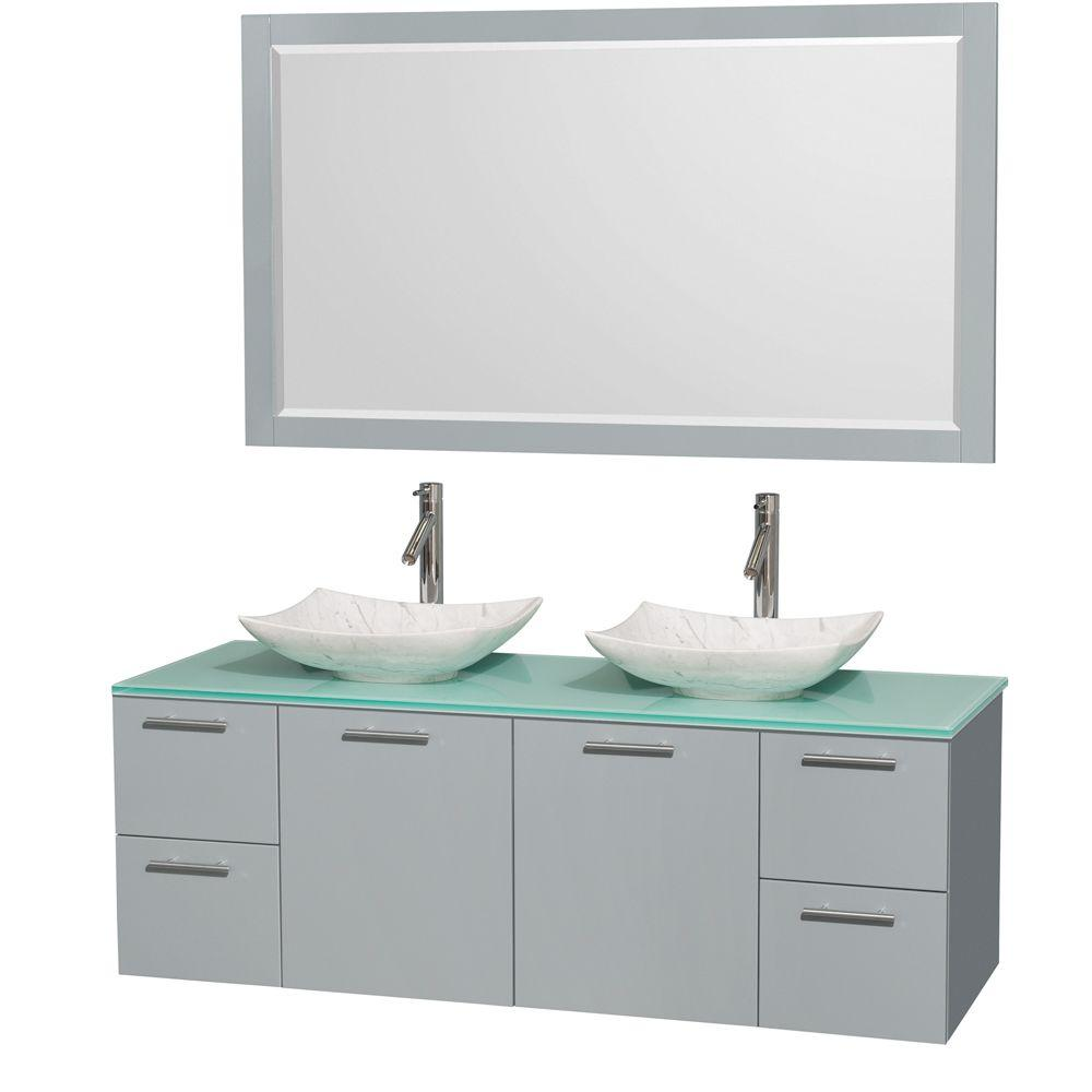 Wyndham Collection Amare 60 in. W x 22.25 in. D Vanity in Dove Gray with Glass Vanity Top in Green with White Basins and 58 in. Mirror