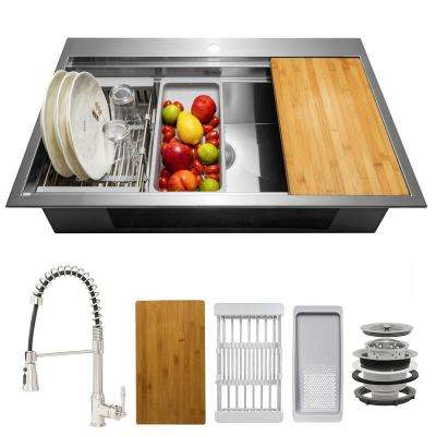 Handmade All-in-One Topmount Stainless Steel 32 in. x 22 in. Single Bowl Kitchen Sink w/ Spring Neck Faucet, Accessory