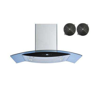 36 in. Convertible Wall Mount Range Hood in Stainless Steel/Tempered Glass with Touch Control and Carton Filters