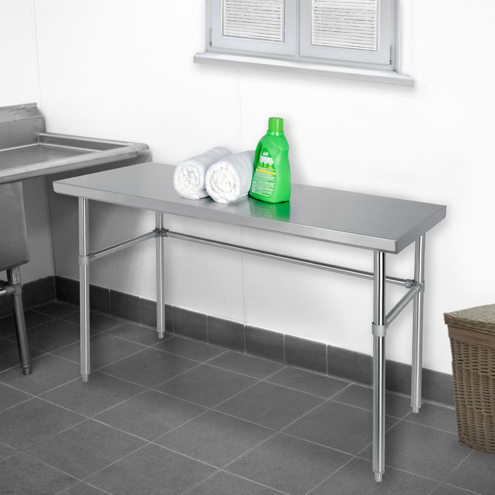 Excalibur Stainless Steel (Silver) Kitchen Utility Table