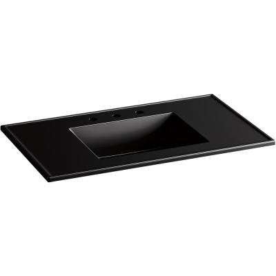 Ceramic/Impressions 37 in. W Rectangular Vanity Top with 8 in. Widespread Faucet Holes in Black Black