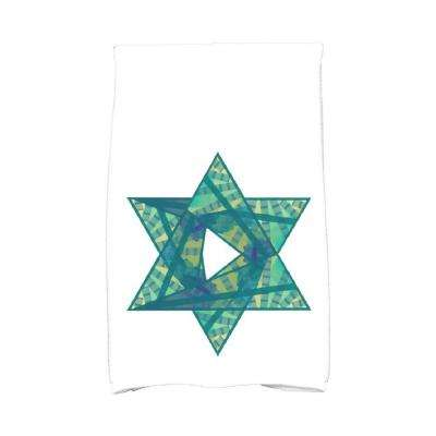 16 in. x 25 in. Teal Star Mosaic Holiday Geometric Print Kitchen Towel