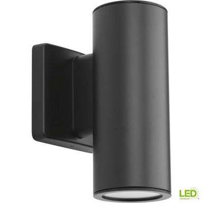 Cylinders Collection 2-Light Graphite Integrated LED 8.25 in. Outdoor Wall Mount Cylinder Light