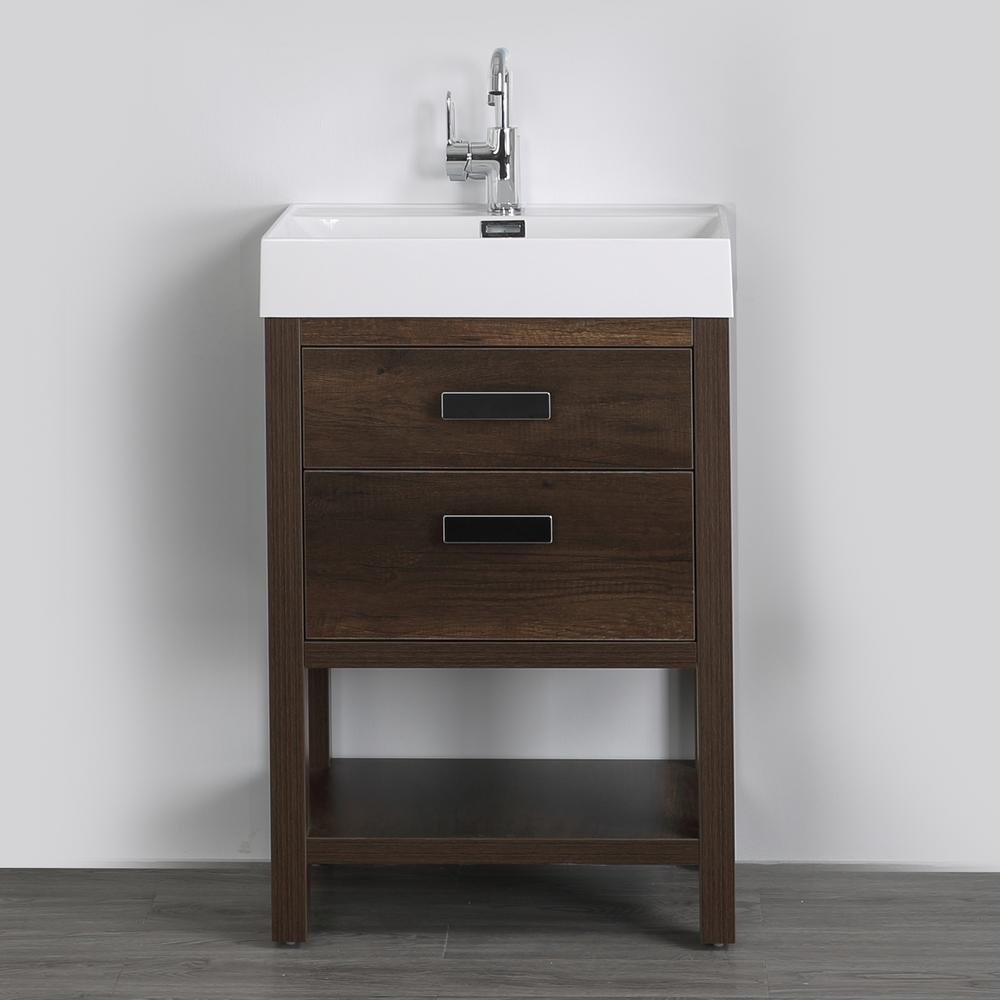 Streamline 23.6 in. W x 32.3 in. H Bath Vanity in Brown with Resin Vanity Top in White with White Basin
