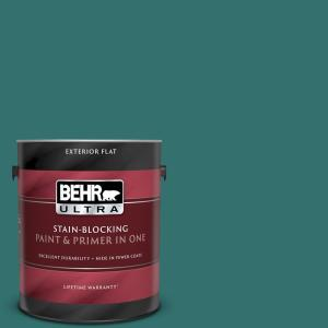 Behr Ultra 1 Gal 500d 7 Caribbean Green Flat Exterior Paint And Primer In One 485301 The Home Depot