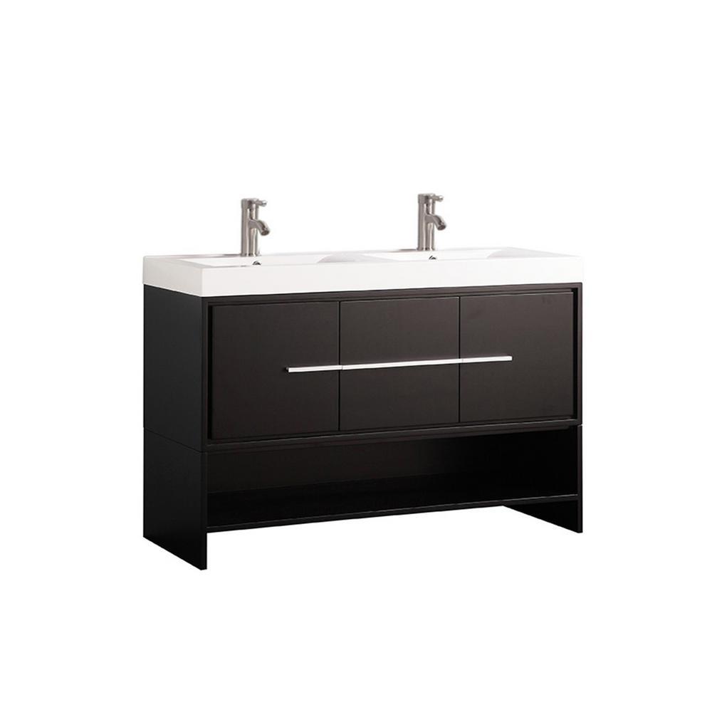 Bergamo 48 in. W x 18 in. D x 36 in. H Vanity in Espresso with Acrylic Vanity Top in White with White Basin