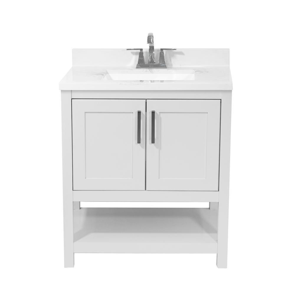 Tufino 31 in. Bath Vanity in White with Cultured Marble Vanity Top w/ Backsplash in Carrara White with White Basin