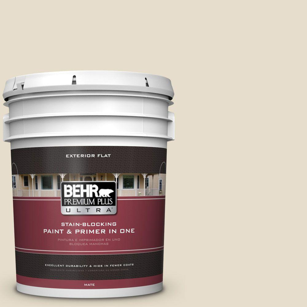 BEHR Premium Plus Ultra 5-gal. #PWL-90 Abstract White Flat Exterior Paint