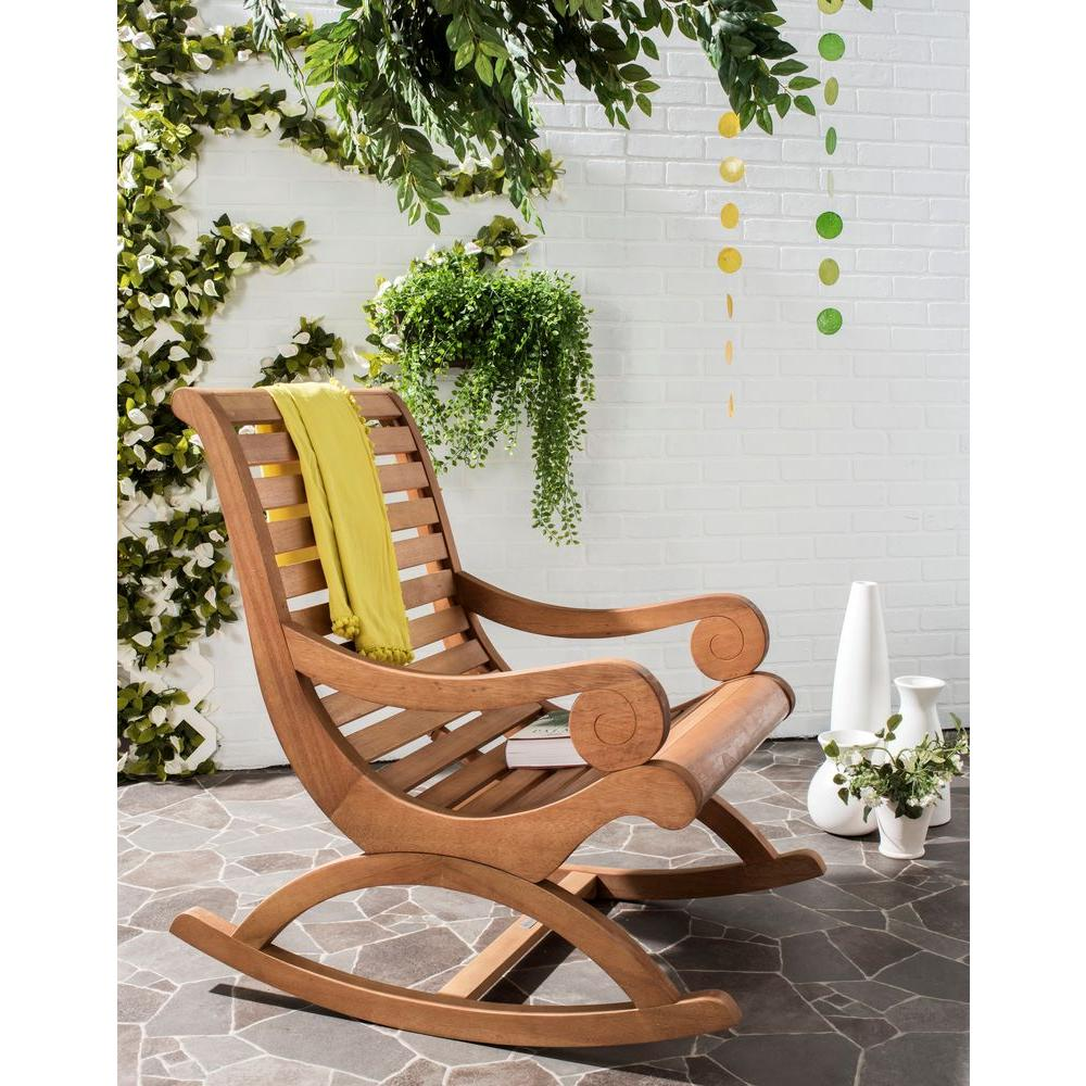 Beau Safavieh Sonora Teak Brown Outdoor Patio Rocking Chair