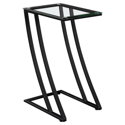 Jasmine 24 in. Black/ Clear Metal End Table