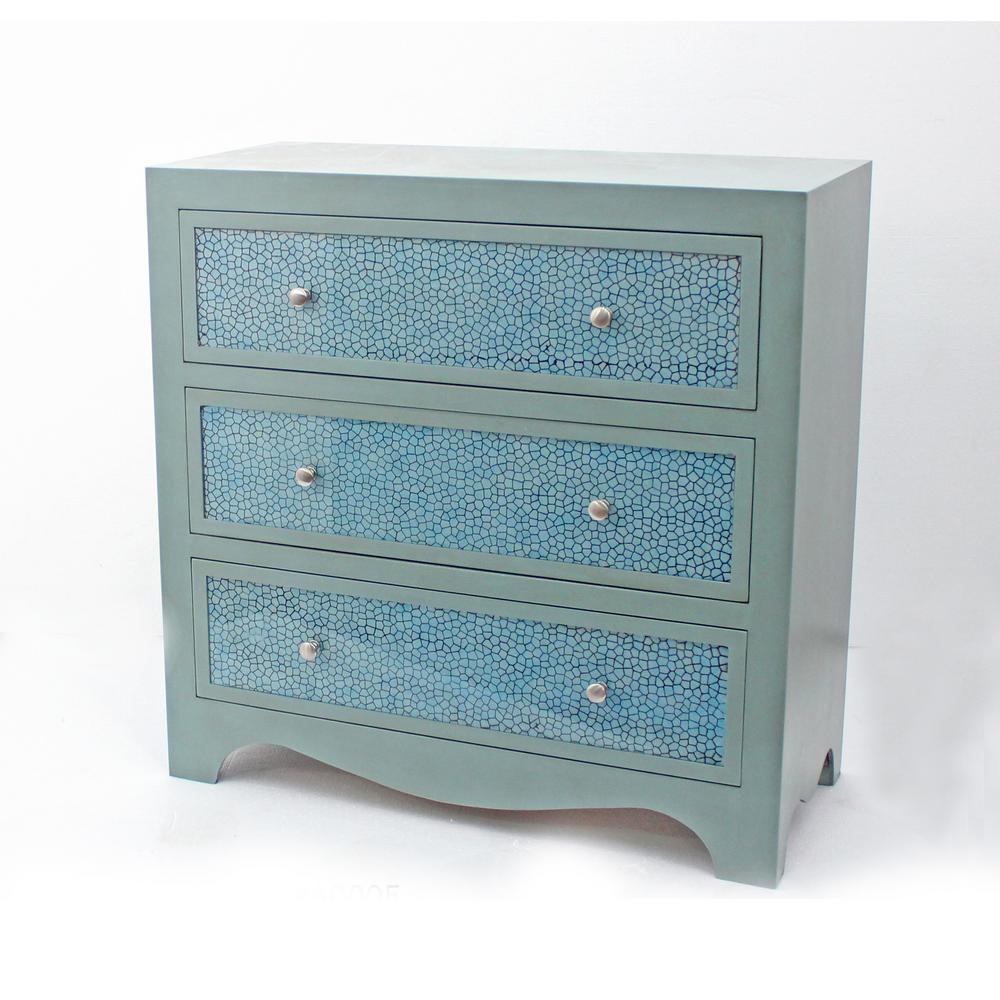 Blue Wood 3-Drawer Storage Cabinet
