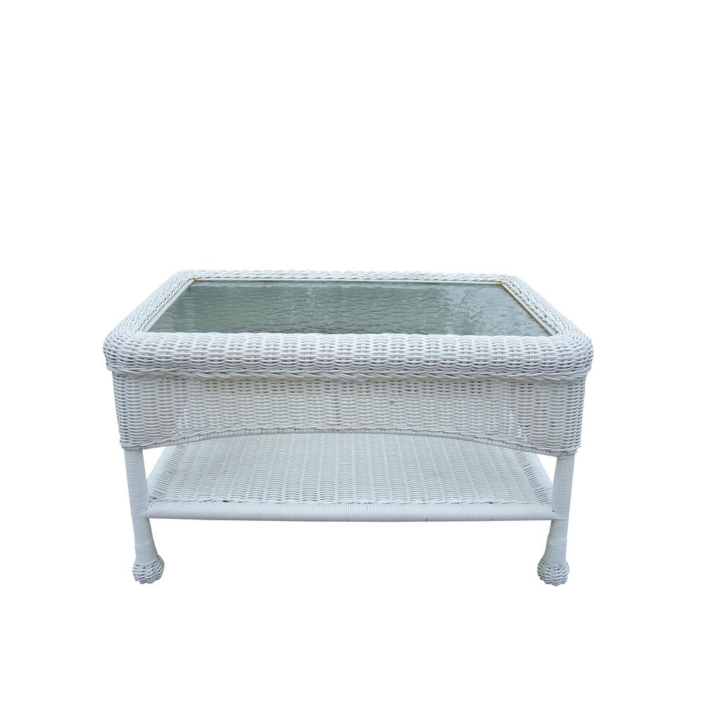 Rectangle White Resin Wicker Outdoor Coffee Table-HD90027-CT-WT ...