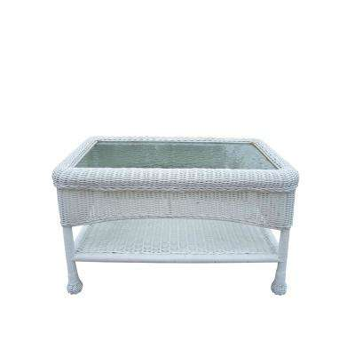 Rectangle White Resin Wicker Outdoor Coffee Table - Wicker Patio Furniture - White - Patio Tables - Patio Furniture
