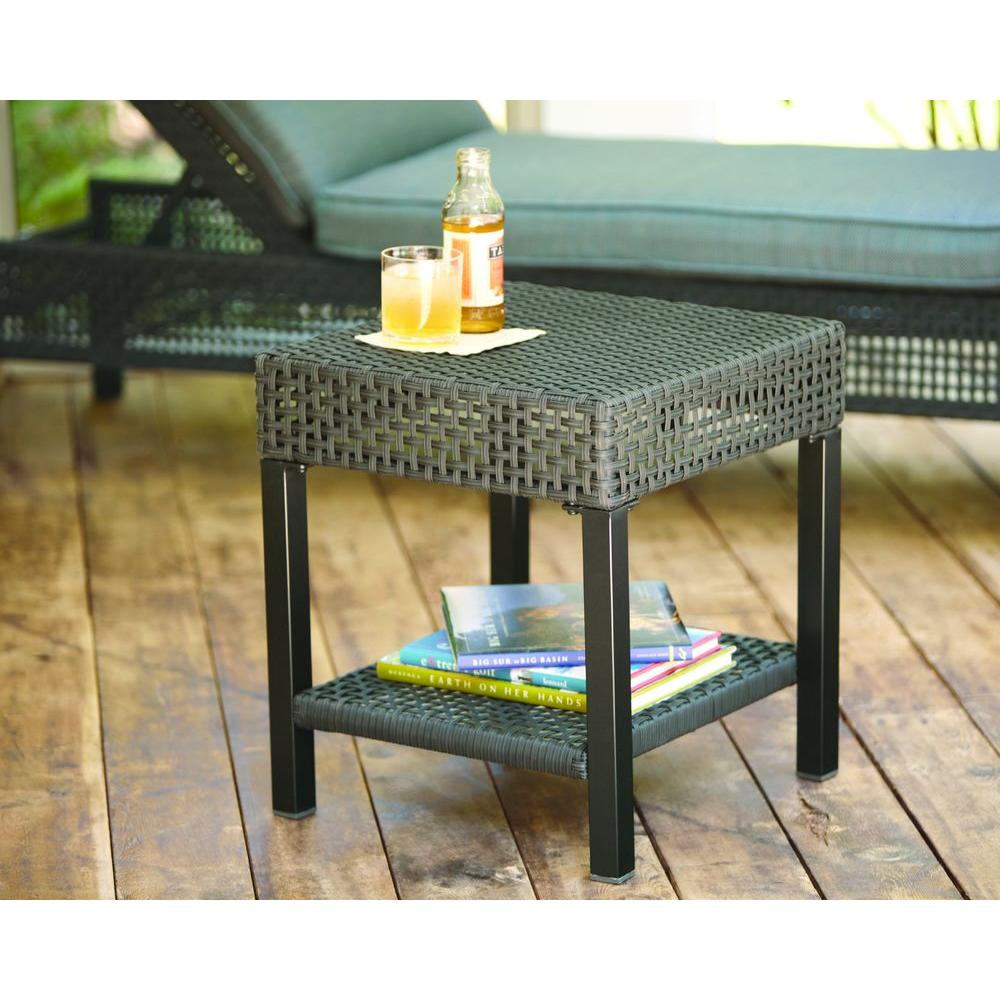 Hampton Bay Fenton Wicker Outdoor Patio Side Table D9131 Ts The