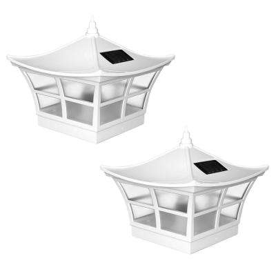 Ambience 5 in. x 5 in. Outdoor White Vinyl LED Solar Post Cap (2-Pack)