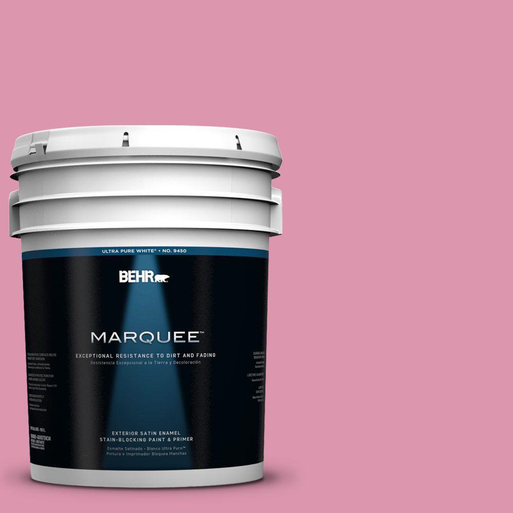 BEHR MARQUEE 5-gal. #110B-4 Foxy Pink Satin Enamel Exterior Paint