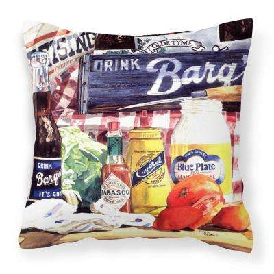 14 in. x 14 in. Multi-Color Lumbar Outdoor Throw Pillow Blue Plate Mayonaise Barqs a Tomato Sandwich Canvas