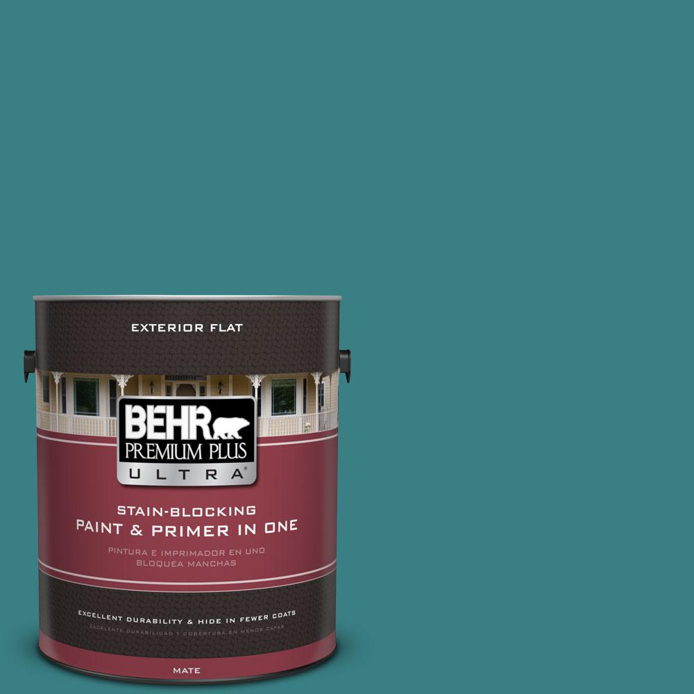 1 gal. #510D-7 Pacific Sea Teal Flat Exterior Paint