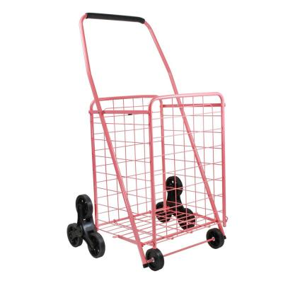 Coral Metal Cleaning Cart with Stair Climber
