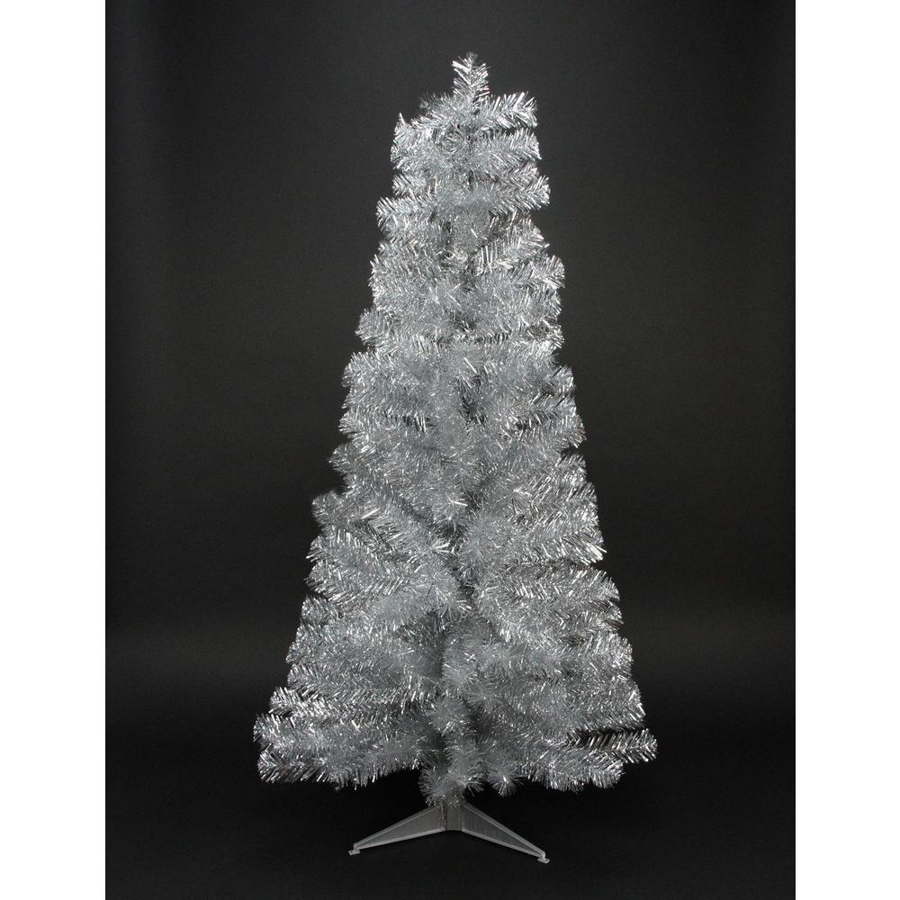 4 ft. x 24 in. Silver Tinsel Medium Artificial Christmas Tree Unlit