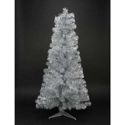 4 ft. x 24 in. Silver Tinsel Medium Artificial Christmas Tree Unlit