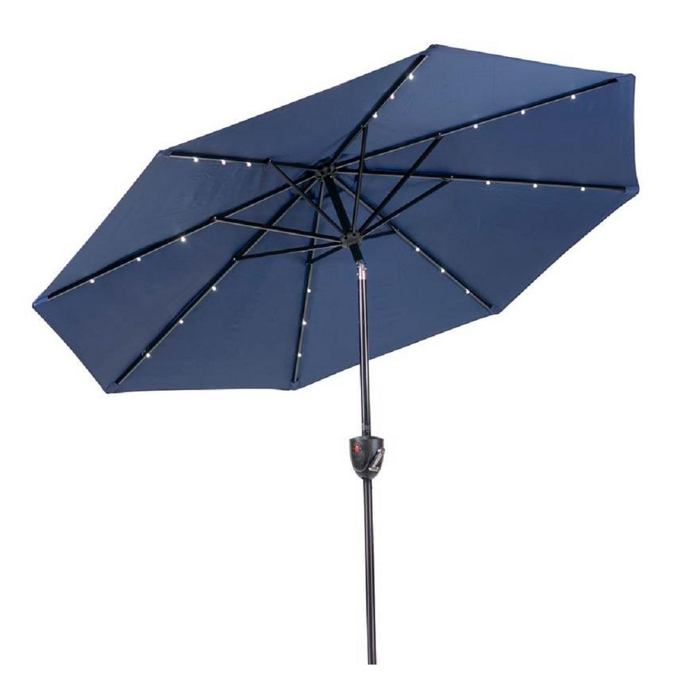 SunRay 9 ft. Round Bluetooth Speaker Solar Lighted Market Umbrella in Navy
