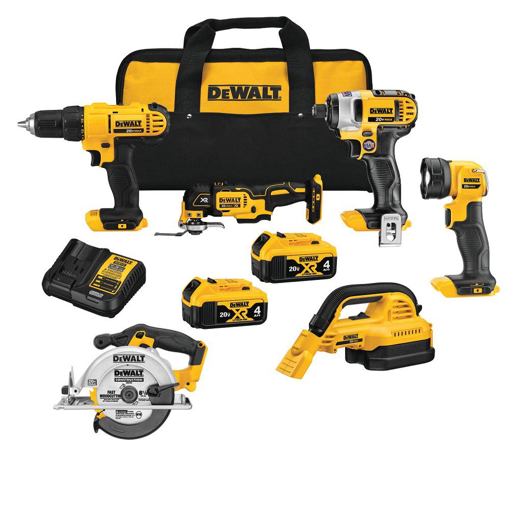 DEWALT 20-Volt MAX Lithium-Ion Cordless Combo Kit (6-Tool), (2) 4 Ah Batteries, Charger, and Tool Bag
