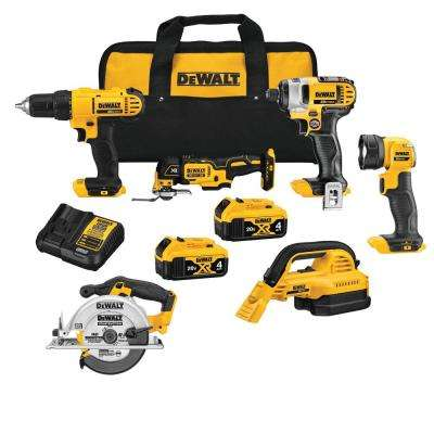 20-Volt MAX Lithium-Ion Cordless Combo Kit (6-Tool), (2) 4 Ah Batteries, Charger, and Tool Bag