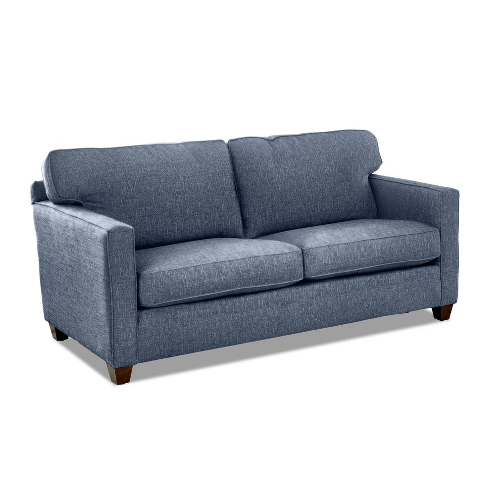 AVENUE 405 Carter 77 in. Denim Fabric 2-Seater Sofa with ...