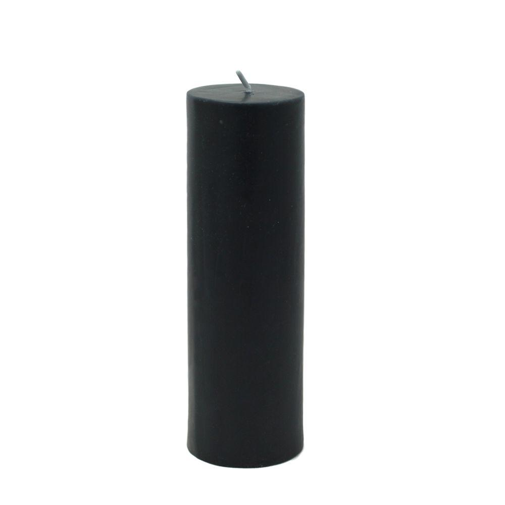 2 in. x 6 in. Black Pillar Candle Bulk (24-Case)