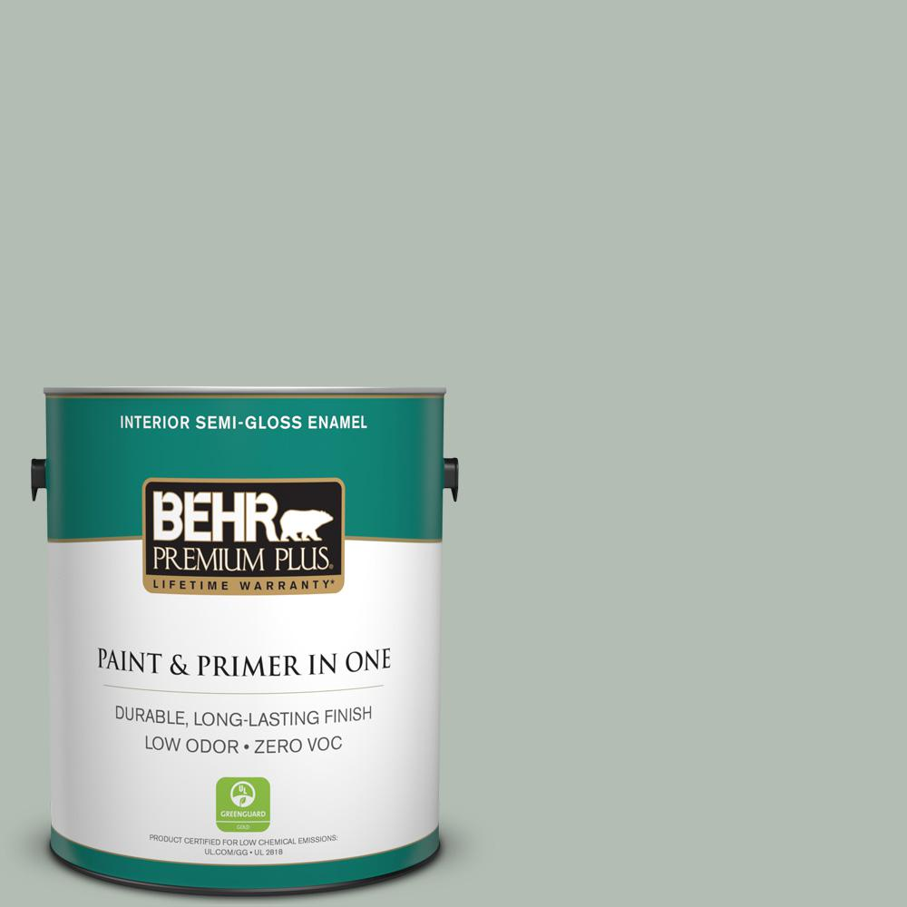 1-gal. #N400-3 Flagstaff Green Semi-Gloss Enamel Interior Paint