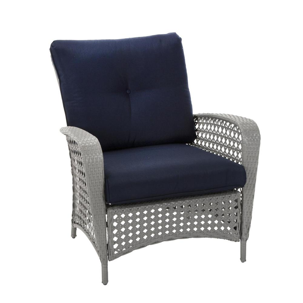 Groovy Cosco Lakewood Ranch Steel Woven Wicker Patio Lounge Chairs With Gray And Blue Cushions Set Of 2 Pabps2019 Chair Design Images Pabps2019Com