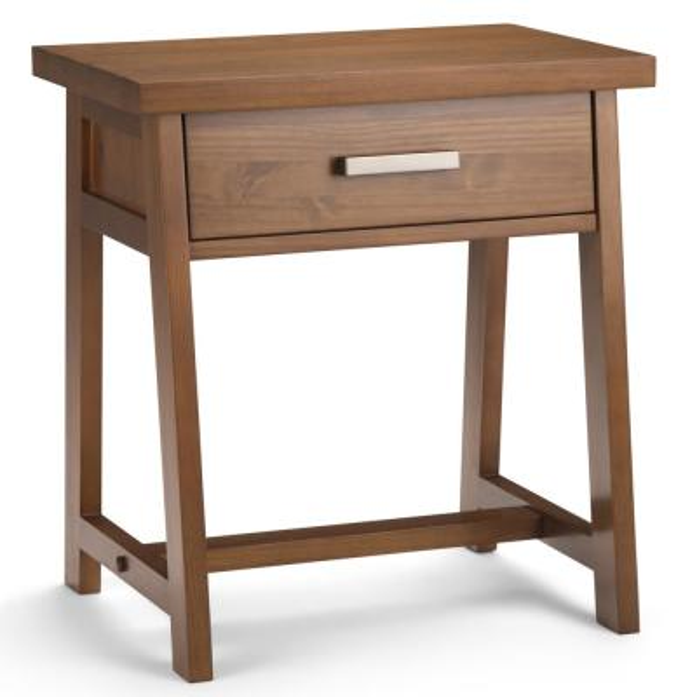 Sawhorse 1-Drawer Solid Wood 24 in. Wide Modern Industrial Bedside Nightstand Table in Medium Saddle Brown