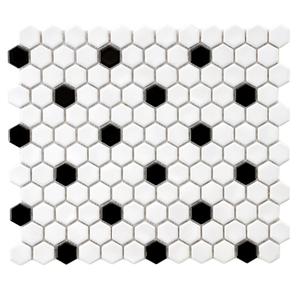 Merola Tile Metro Hex Glossy White with Black Dot 10-1/4 in. x 11-3 ...