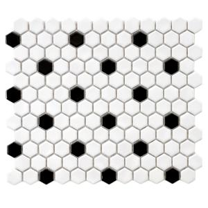 Merola Tile Metro Hex Glossy White With Black Dot 10 1 4 In X 11 3 5 Mm Porcelain Mosaic 8 54 Sq Ft Case Fxlmhwbd The Home Depot