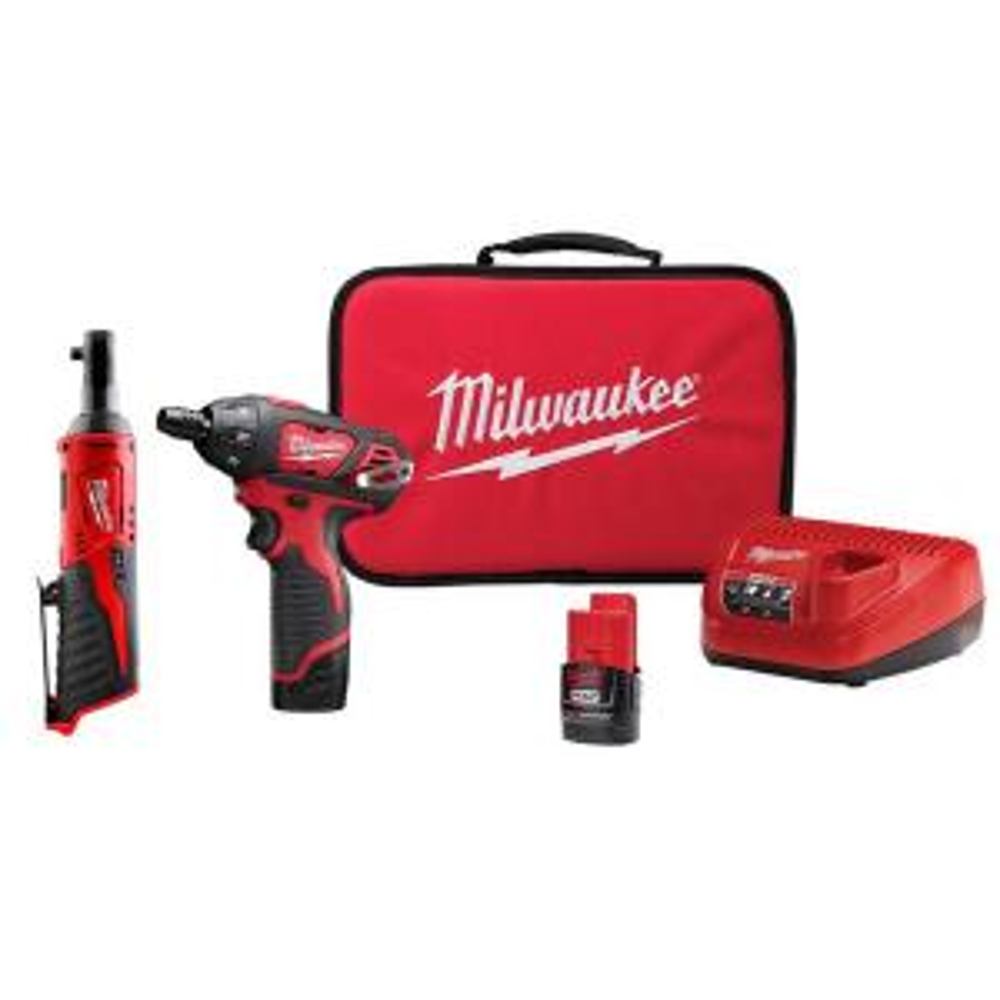 "Milwaukee 2101-22 M4 1//4/"" Hex REDLITHIUM 2.0 Cordless 2-Speed Screwdriver Kit"