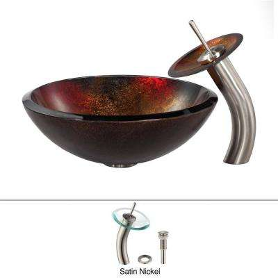 Mercury Glass Vessel Sink in Red/Gold with Waterfall Faucet in Satin Nickel