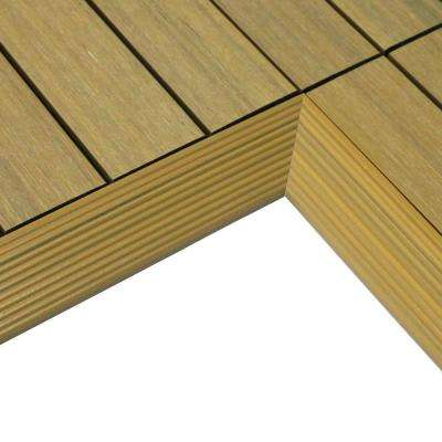 1/6 ft. x 1 ft. Quick Deck Composite Deck Tile Inside Corner in English Oak (2-Pieces/box)