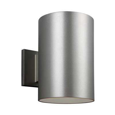 Outdoor Cylinders Painted Brushed Nickel Outdoor Integrated LED Wall Mount Lantern