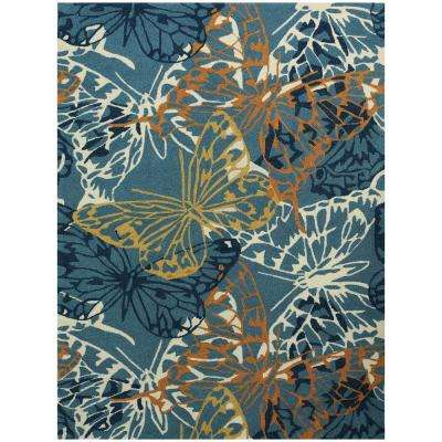 Pizazz Butterfly Blue 8 ft. x 11 ft. Rectangle Area Rug