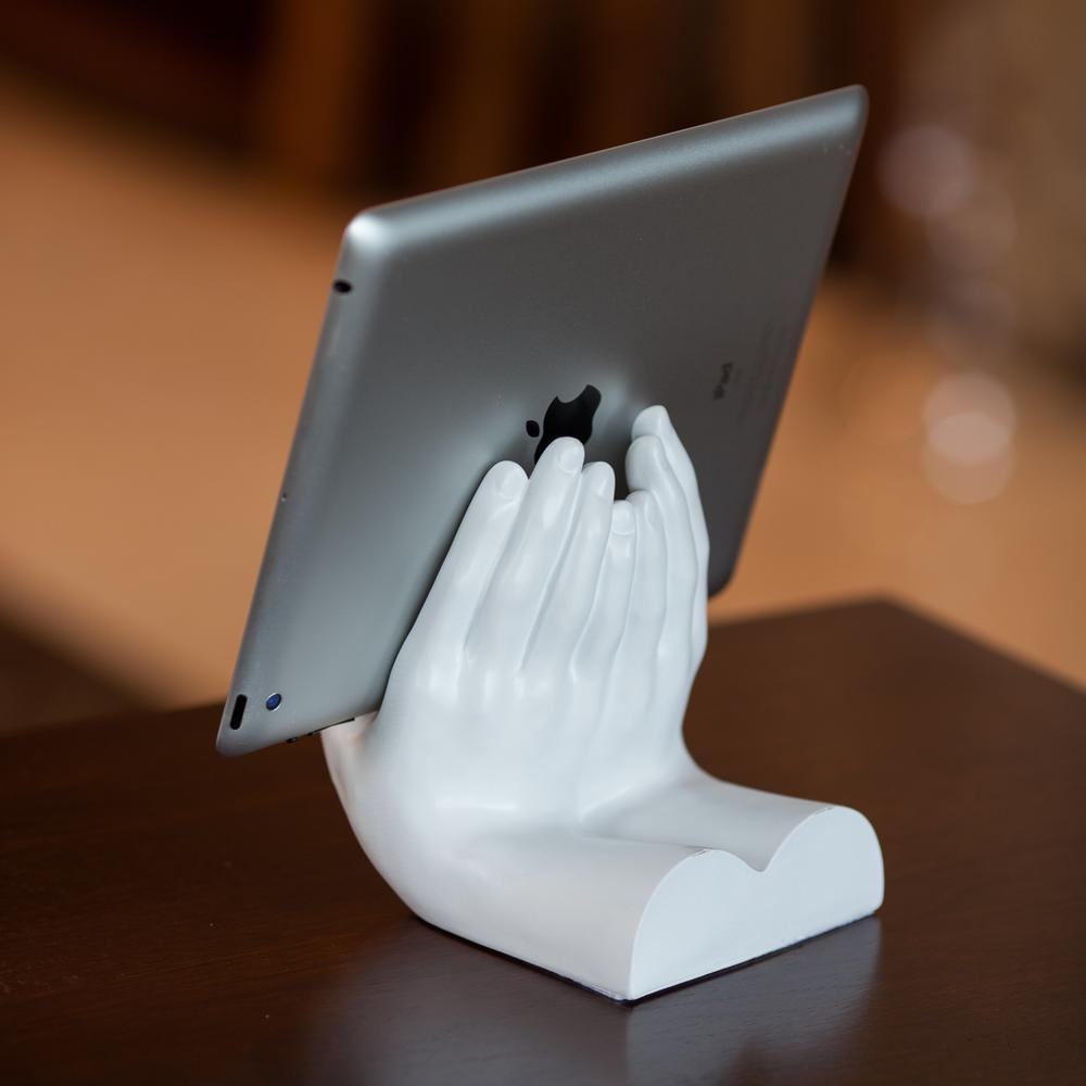 Hands White Resin Book or Tablet Holder