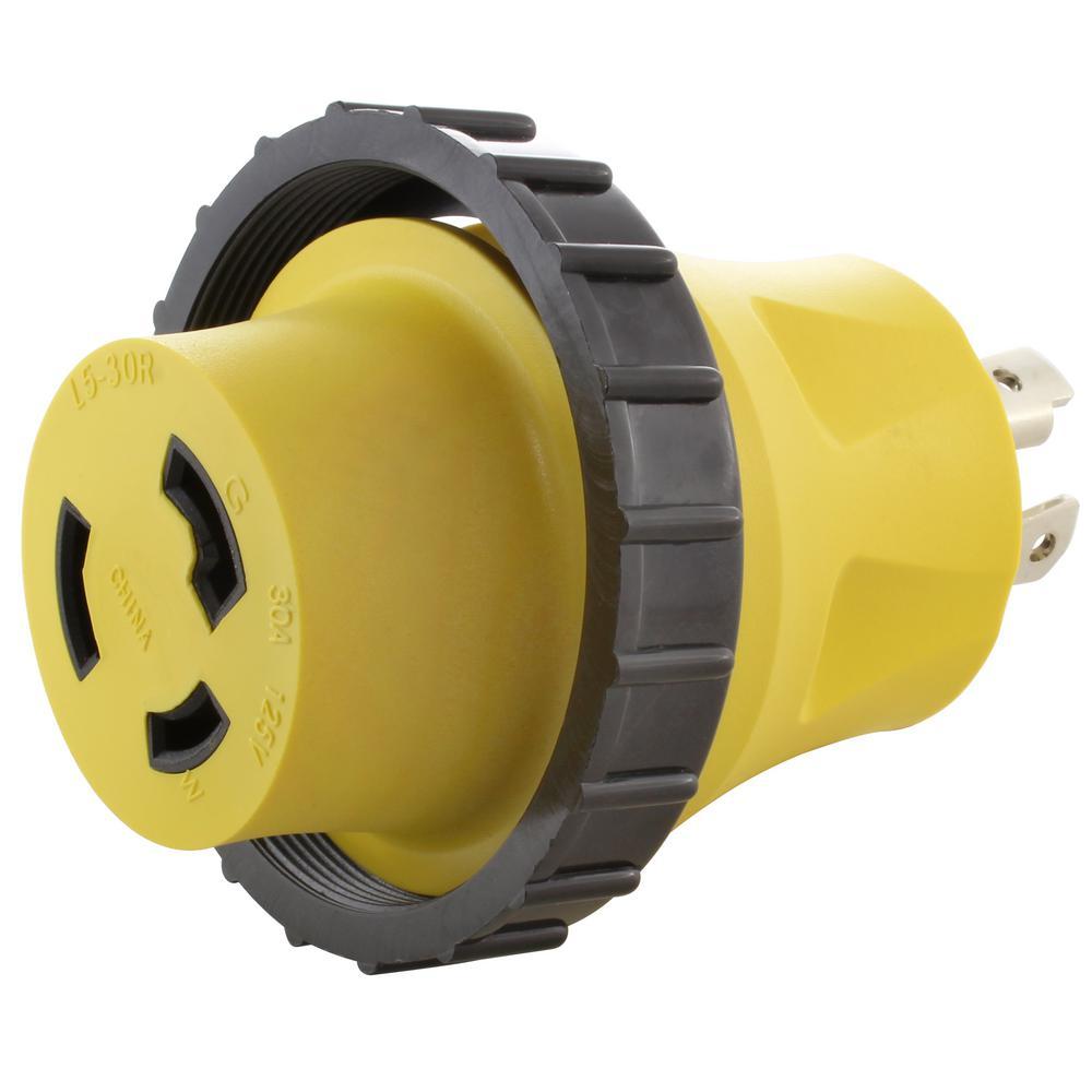 30 Amp Rv Plug >> Ac Works Ac Connectors Rv Marine Generator Adapter 30 Amp 4 Prong