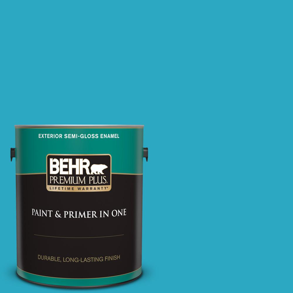 Behr Premium Plus 1 Gal P480 5 High Dive Semi Gloss Enamel Exterior Paint And Primer In One 540001 The Home Depot