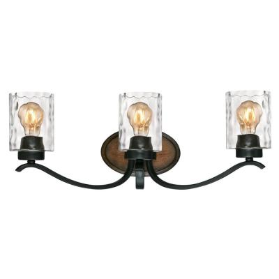 Barnwell 3-Light Textured Iron and Barnwood Wall Mount Bath Light