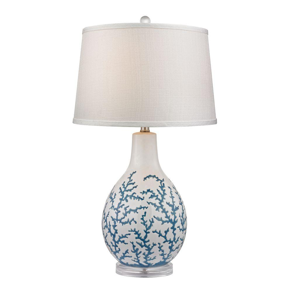 Titan Lighting Sixpenny 27 In White Blue Coral Table Lamp Tn 999956