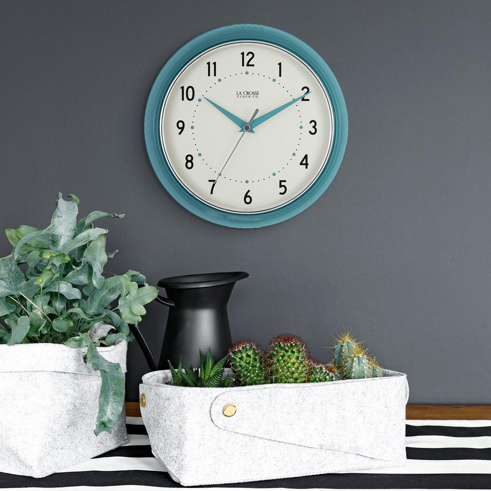 H Round Teal Blue Retro Diner Og Wall Clock