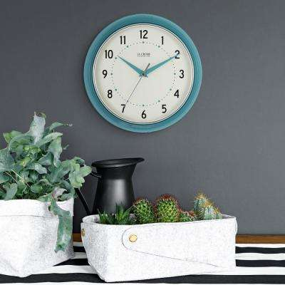 9.5 in. H Round Teal Blue Retro Diner Analog Wall Clock