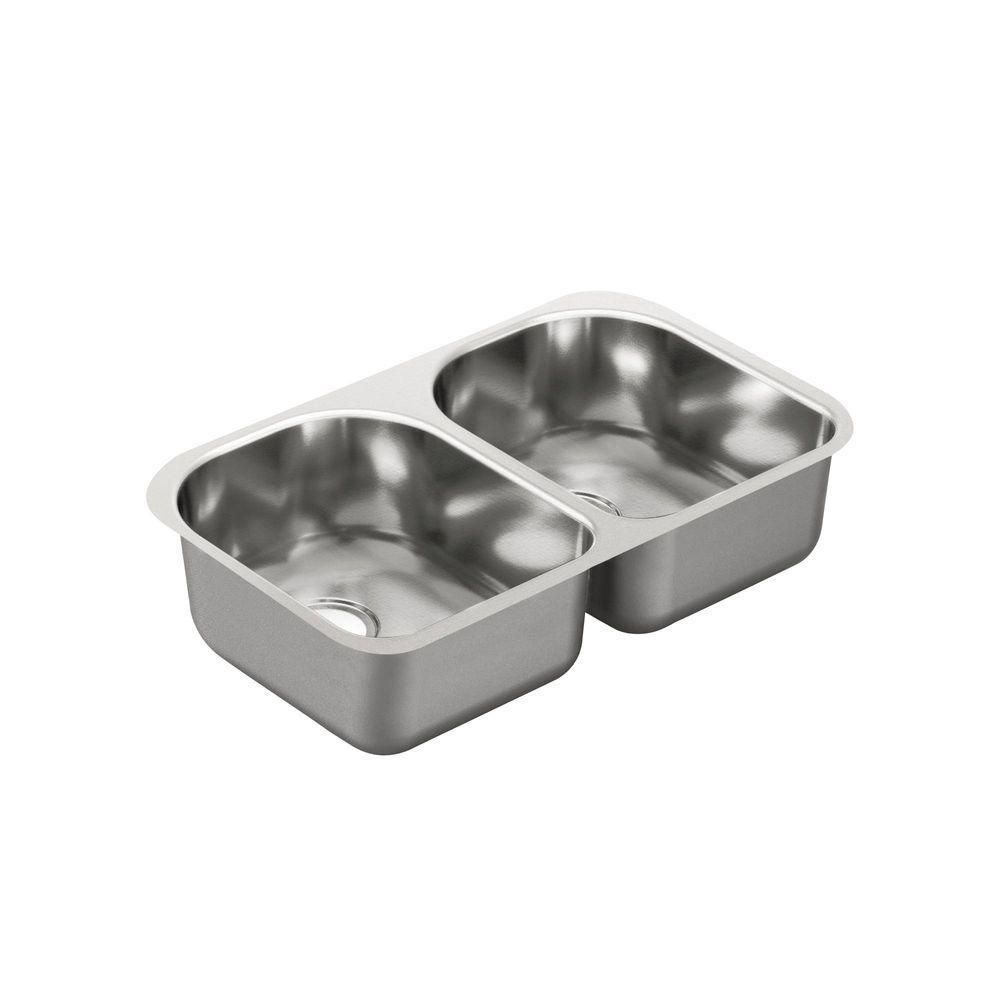 2000 Series Undermount Stainless Steel 29.25 in. Double Bowl Kitchen Sink