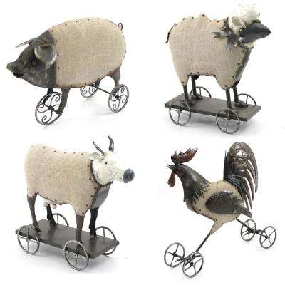 Assorted Farm Animals on Wheels (4-Set)
