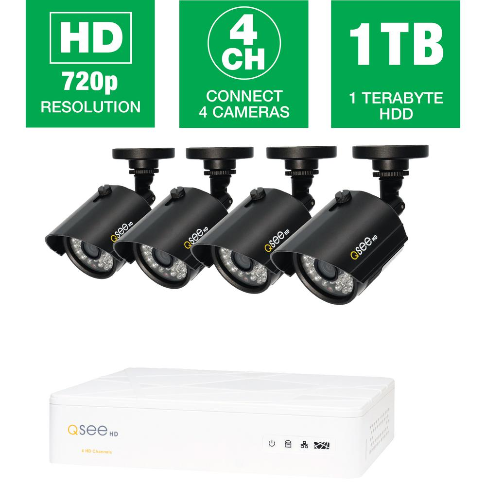 Q-SEE 4-Channel 720p 1TB Video Surveillance System with 4 HD Bullet ...